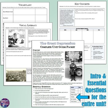 Great Depression Study Guide and Unit Packet by Students ...