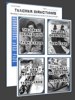 Great Depression - Task Cards (32 Great Depression Task Cards with Answer Sheet)