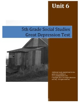 Great Depression Test--5th Grade Social Studies