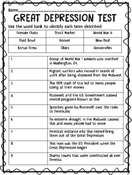 Great Depression Test- identify, multiple choice, DBQ, Essay