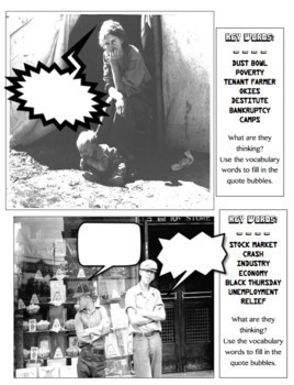 Great Depression Vocabulary Thought Bubbles