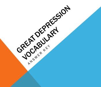 Great Depression Unit Vocabulary Handout & Answer Key Presentation