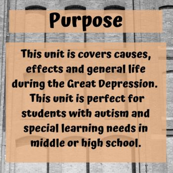 Great Depression Unit for Special Education