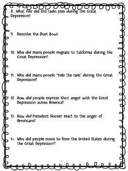 Great Depression Video Guide 23 questions