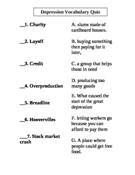 Great Depression Vocabulary Quizzes