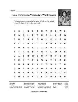 Great Depression Vocabulary Word Search (Grades 4-5)