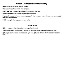 Great Depression Vocabulary and Homework (SS5H5)