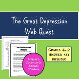 Great Depression WebQuest or Quiz w/ Answer Key