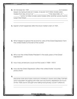 Great Depression - Webquest with Key (Questions for Overview)