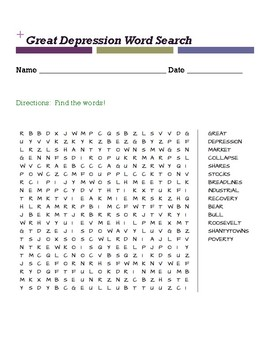 Great Depression Word Search