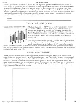 Great Depression Worksheet
