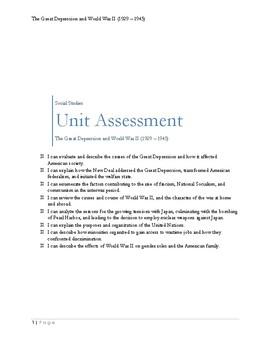 Great Depression & World War II Assessment