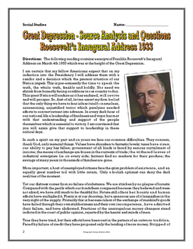 Great Depression and Franklin Roosevelt - Source Analysis Questions, Assignments