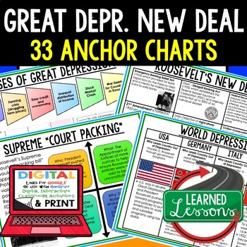 American History Anchor Charts: Great Depression and New Deal
