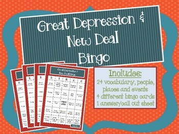 Great Depression and New Deal Bingo
