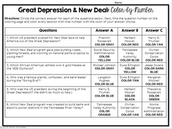 Great Depression and New Deal: Color-by-Number Activity