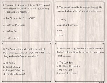 Great Depression and New Deal Task Cards