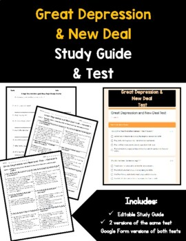 Great Depression and New Deal Study Guide and Test