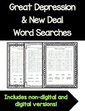 Great Depression and New Deal Word Searches
