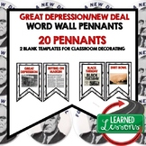 Great Depression and New Deal Word Wall Pennants (American History)