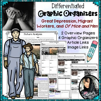 Great Depression and Of Mice and Men Graphic Organizers Mini Bundle (6 pages)