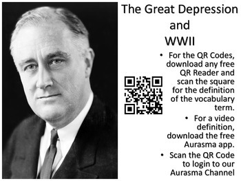 Great Depression and WWII Vocabulary Cards with QR Code Definitions