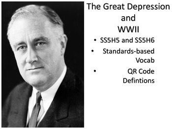 Great Depression and WWII Vocabulary Cards with QR Code De