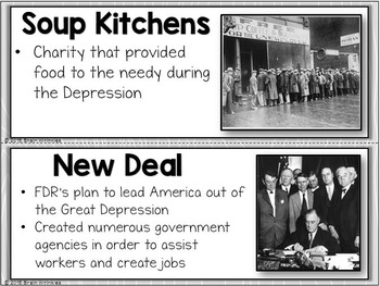 Great Depression and World War II Word Wall