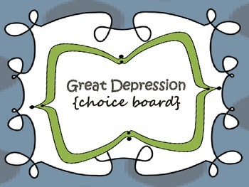 Great Depression {choice board}