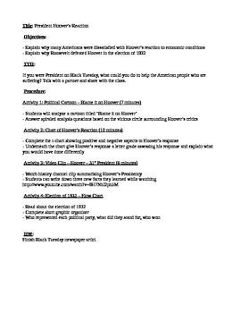 Great Depression lesson plan bundle