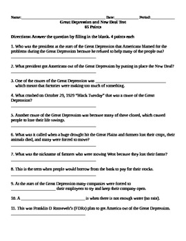 Great Depression/New Deal Lesson Test (2 versions)