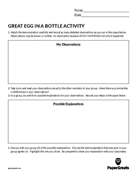 Great Egg in A Bottle Activity
