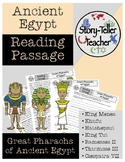 Great Egyptian Pharaohs Reading Passage Ancient Egypt (Kin