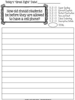 """Great Eight"" Quick Demand Prompt Assessments:  Set 2 ""Opinion Writing"""
