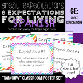 """Great Expectations: 8 Expectations for Living """"Rainbow"""" Poster Set (SPANISH)"""