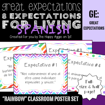 "Great Expectations: 8 Expectations for Living ""Rainbow"" Poster Set (SPANISH)"