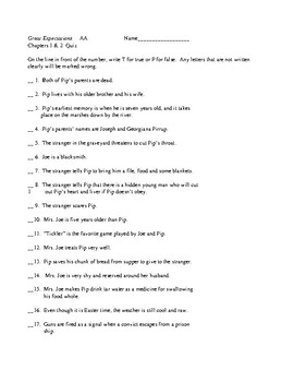 Great Expectations AA (Abridged Adapted) Chapters 1 & 2  Quiz & KEY