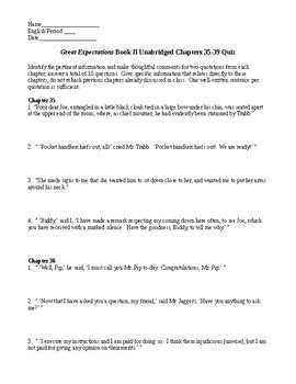 Great Expectations Bk II Unabridged Ch 35-39 Quiz AND KEY