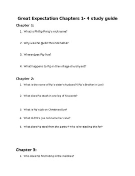 Great Expectations Ch. 1-4 Study Guide