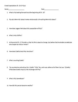 Great Expectations Ch. 36-39 Quiz