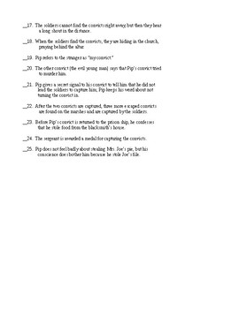 Great Expectations Chapters 3 & 4  AA (Abridged Adapted) T/F Quiz &KEY
