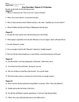 Great Expectations Chapters 31-34 Quiz and KEY