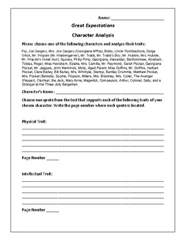 Great Expectations Character Analysis Activity - Charles Dickens