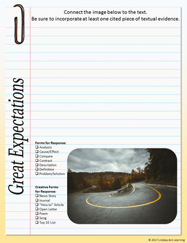 Great Expectations by Dickens, Journal Prompts Digital Interactive Notebook