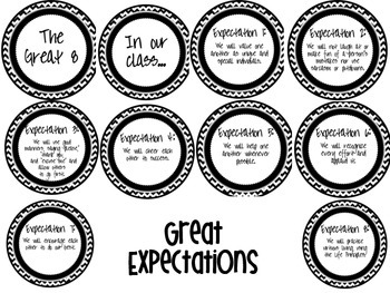 Great Expectations Posters Black and White Chevron