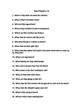 Great Expectations Quiz Chs. 1-6