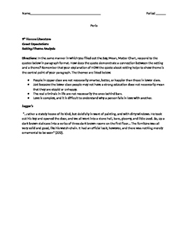 Great Expectations Setting and Theme Literary Analysis Writing Assignment