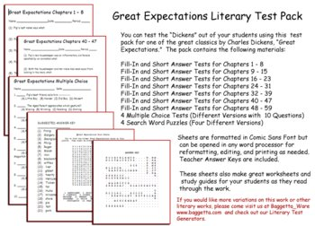 Great Expectations Test Pack Dickens