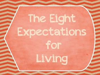 Great Expectations- The Eight Expectations For Living Posters-Chevron-Orange