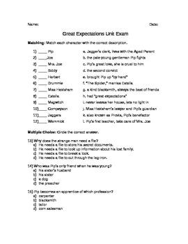 Great Expectations Unit Exam